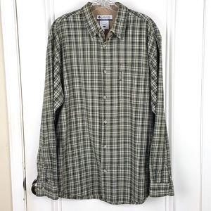 Columbia | Green Tan Plaid Button Down Shirt
